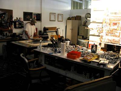 Darryl Erdmann in his studio adjacent to Chroma Gallery