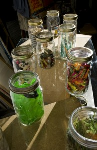 display of jars from Urban Artifacts being used in Shelf Life