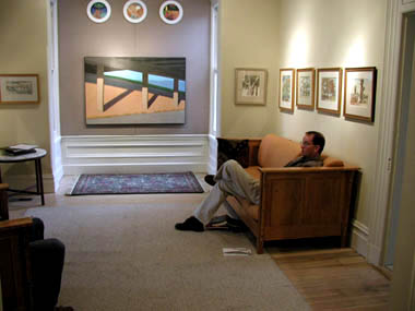 David Ericson relaxes in the comfortable and spacious setting of his new gallery at 418 South 200 West in Salt Lake City.