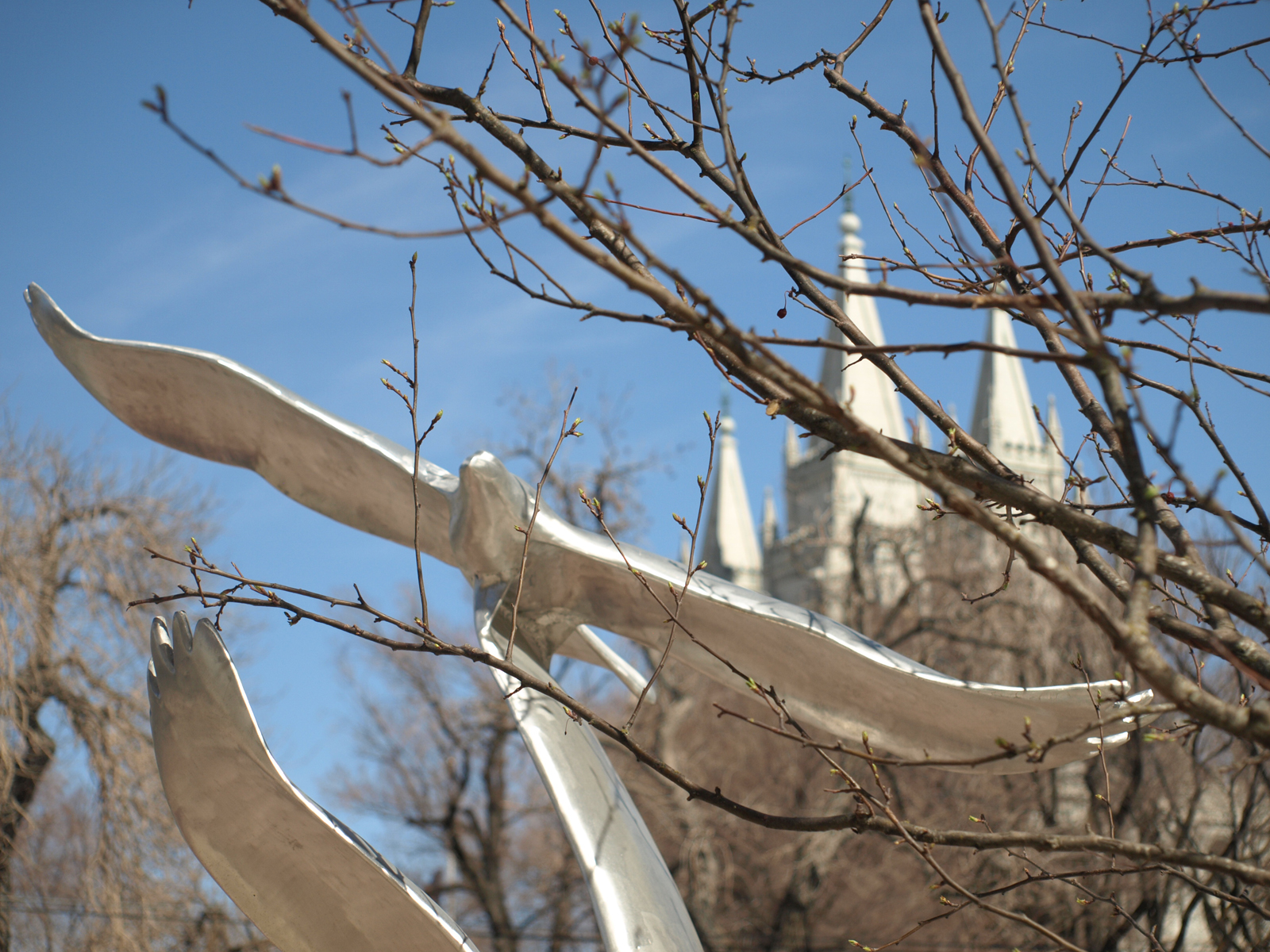 Public art at Salt Lake's City Creek with a view of the LDS temple in the background. Photo by Portia Snow.