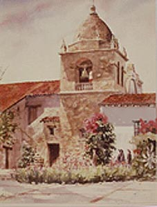 Watercolor painting of a California Mission church by Harrison Groutage.