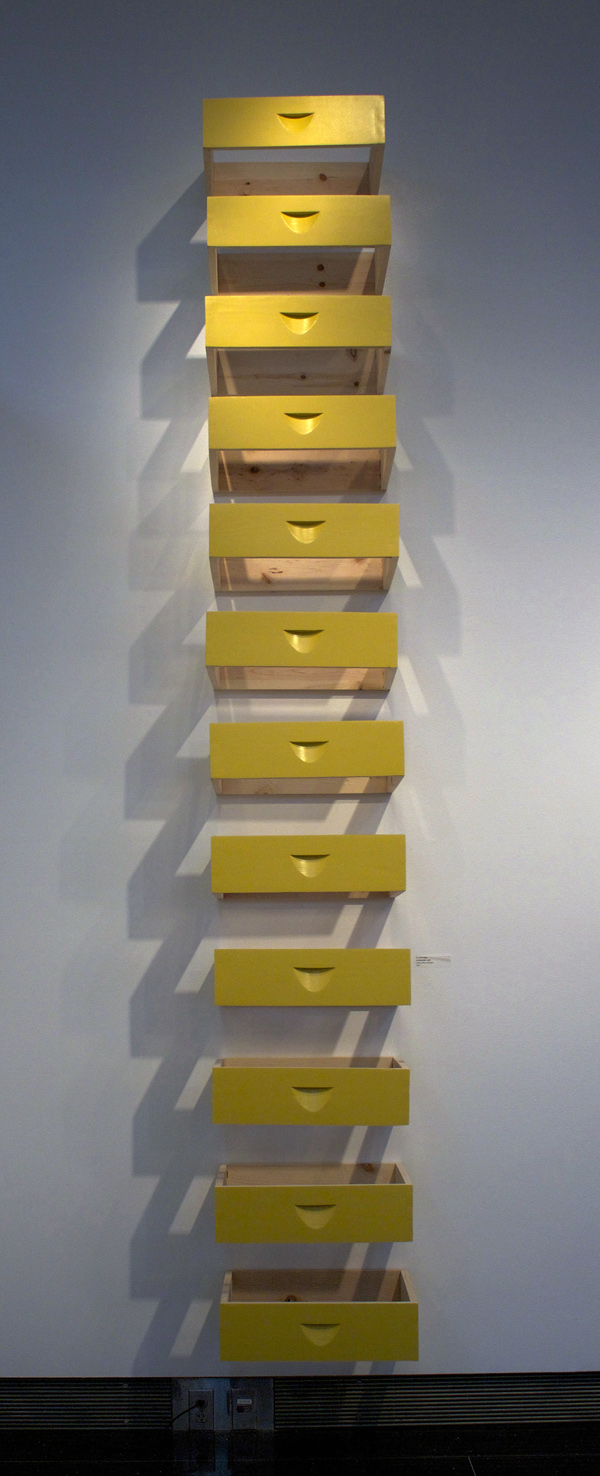 "Twelve Unsealed Boxes and Interstices, After Judd, 9"" x 6"" x 144"", Latex paint on wood"