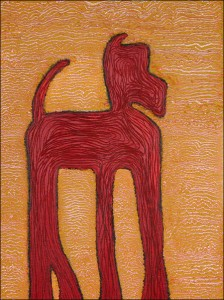2049 - Red Dog, acrylic on canvas, 18w x 24h