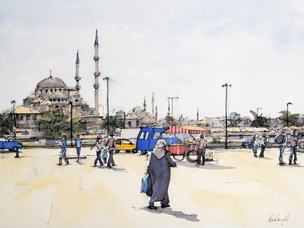 Adhan, At Dusk, Istanbul, watercolor & ink, 12 X 16 inches