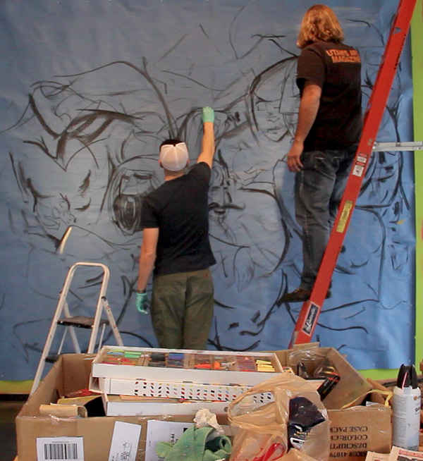David Habben and Shawn Rossiter at work on a large-scale drawing at The Leonardo in March 2013.