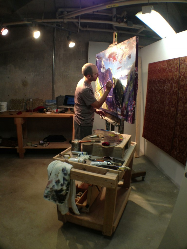 Nathan Florence at work inside his studio at the UMOCA.