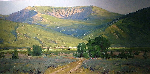 Kimbal Warren's painting of Horseshoe Mountain won first place at last year's plein air competition. The distinctive geological feature is also the inspiration for the name of the new radio program being broadcasted out of Spring City.