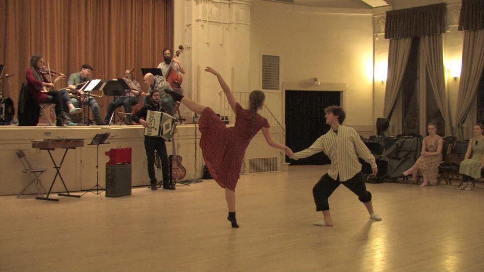 St. Bohéme plays as Elissa Butler and Brian Nelson peform a pas de deux choreographed by Sara Judd, during rehearsals.