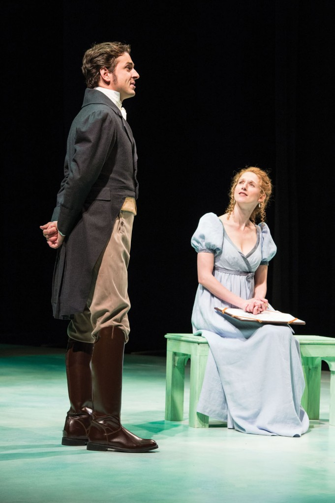 Quinn Mattfeld (left) as Edward Ferrars and Cassandra Bissell as Elinor Dashwood in the Utah Shakespeare Festival's 2014 premiere production of Sense and Sensibility. (Photo by Karl Hugh. Copyright Utah Shakespeare Festival 2014.)