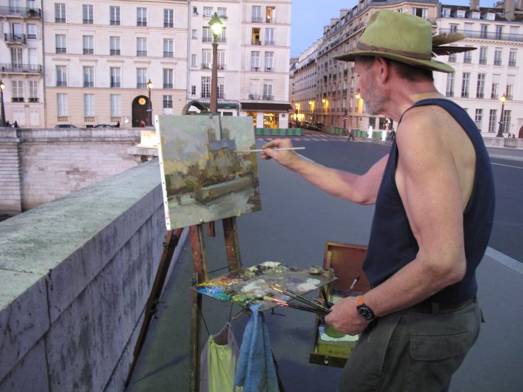 Randall Lake painting in Paris a few weeks before Christmas.