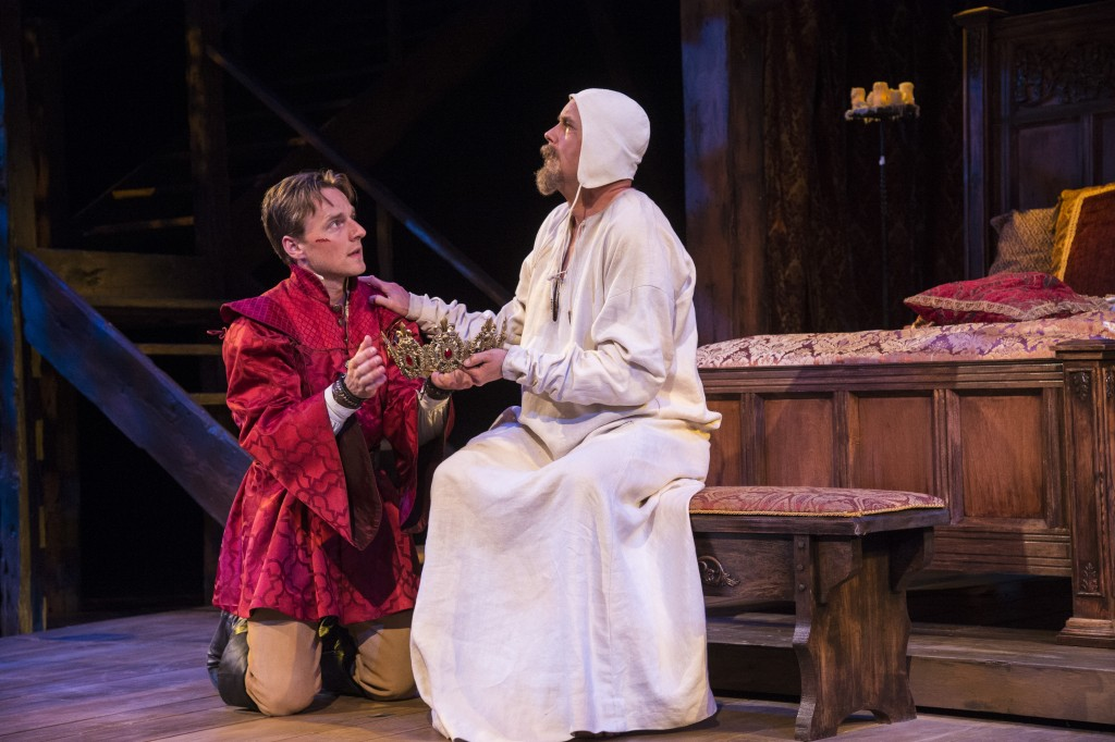 Sam Ashdown (left) as Prince Henry and Larry Bull as King Henry IV in the Utah Shakespeare Festival's 2015 production of King Henry IV Part Two. (Photo by Karl Hugh. Copyright Utah Shakespeare Festival 2015.)
