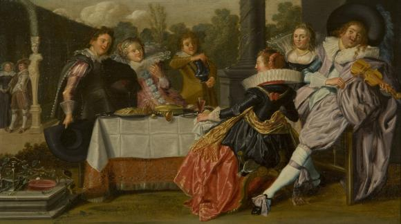 "Dirk Hals ""Merry Company"" oil on panel  1623 - 1625;  h: 11 13/16 in, w: 20 1/4 in"