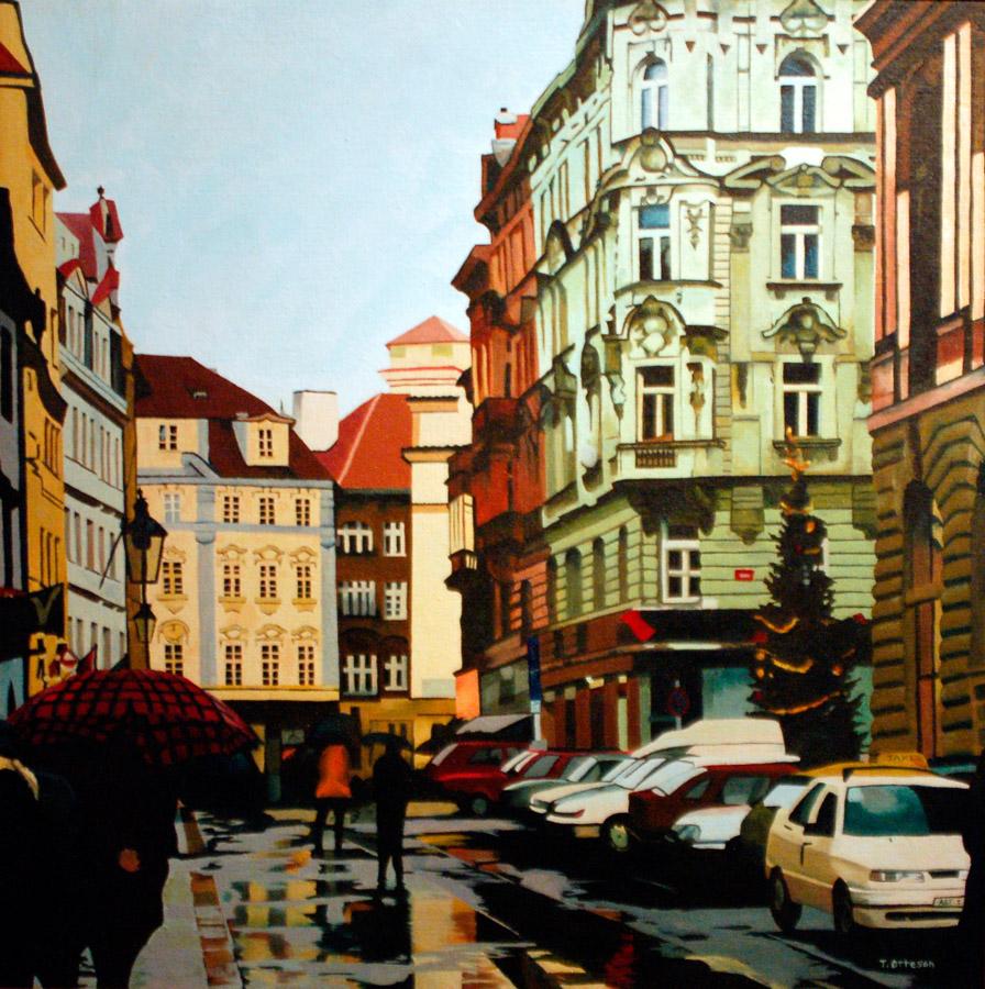Christmas in Prague, Oil, 32 x 32