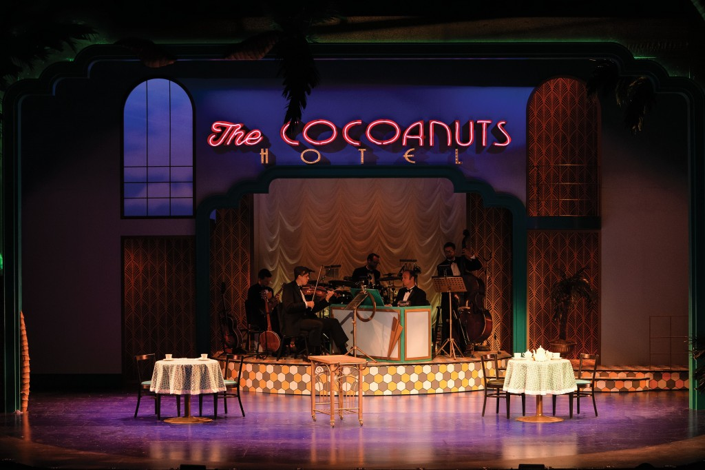 The band, William Petty, Christopher Joyal, Evan Peterson, Paul Helm, and Sean Tillis in the Utah Shakespeare Festival's 2016 production of The Cocoanuts. (Photo by Karl Hugh. Copyright Utah Shakespeare Festival 2016.)