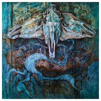 """Aquarius & Caine"" by Cody Chamberlain, oil on linen over aluminum, 4′ x 4′ courtesy the artist."