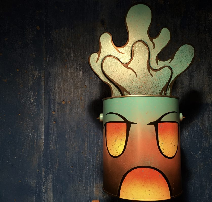 """BUCKET HEAD,"" Repurposed paint can with hand-shaped foam painted with acrylic and enamel."