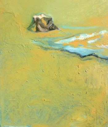 """Black Rock, Great Salt Lake, Surrounded by Chartreuse,"" Oil on canvas, 20″ x 24″"