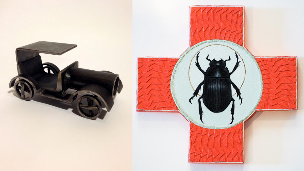 This antique toy car was given to Hilary Jacobsen for her painting of a Scarab Beetle.
