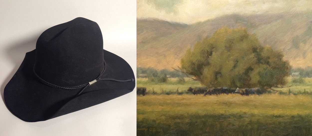 "For his painting ""Belly High Grass,"" Steve McGinty has been given this cowboy hat."