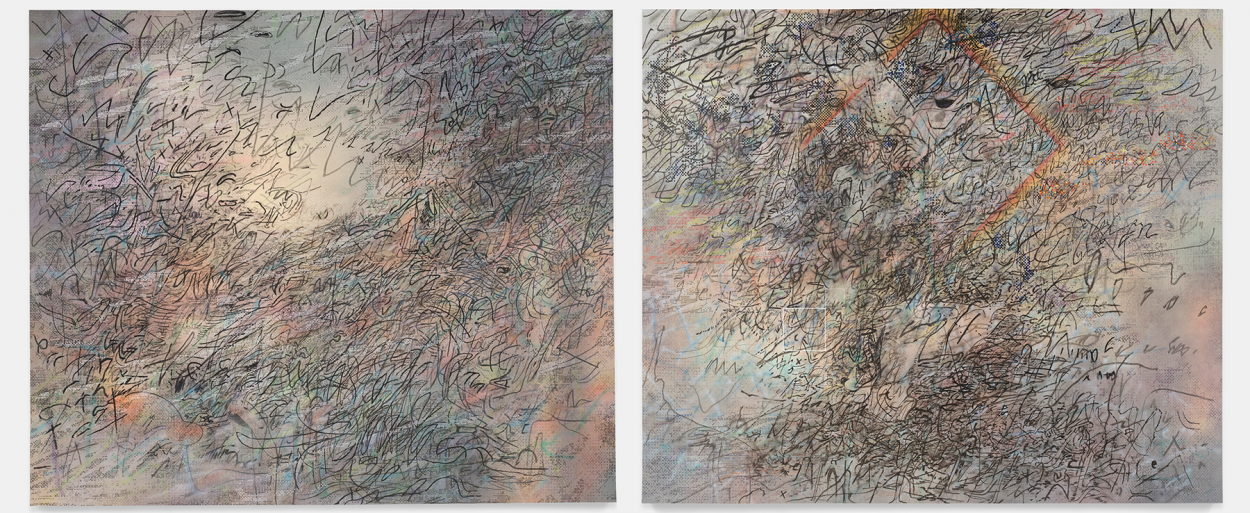 "Julie Mehretu's ""HOWL, eon (I, II)"" at the San Francisco Museum of Art."
