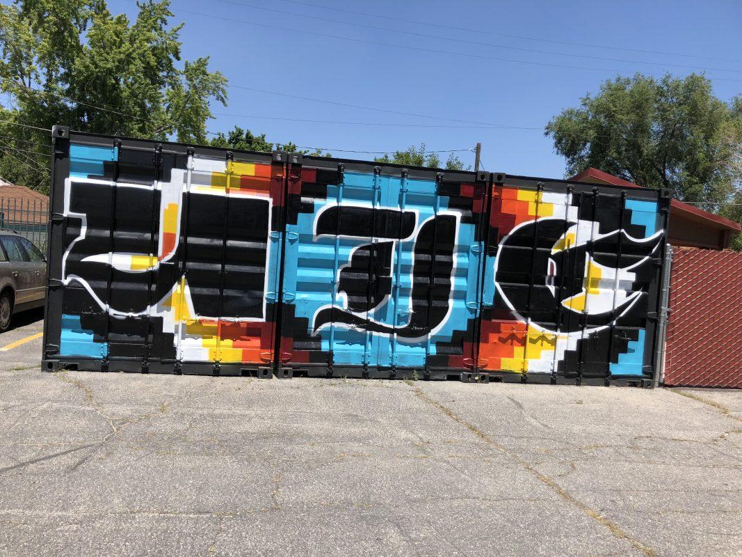 Spray paint mural at balk of Indian Walk-in Center, Salt Lake City.