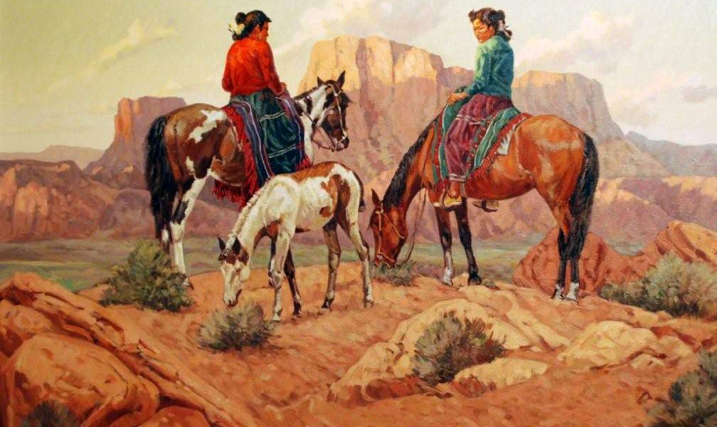 """Indians on Horses"" by Paul Salisbury, 30 x 36, oil on canvas."