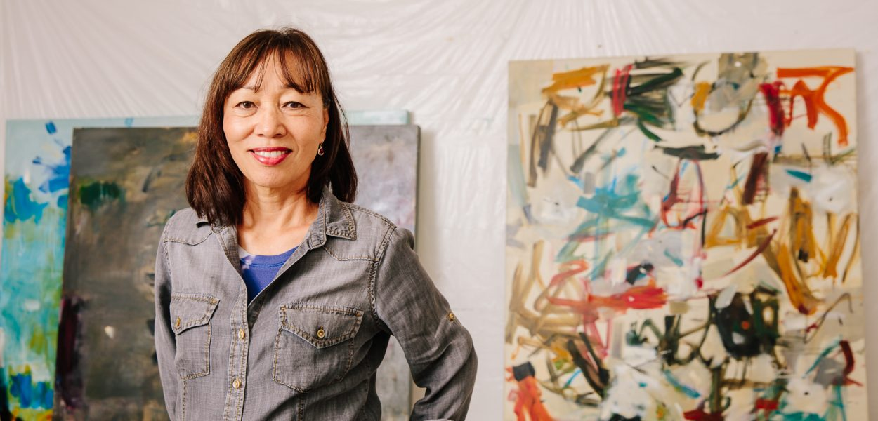 Oonju Chun in her new studio in Eden, photo by Simon Blundell.