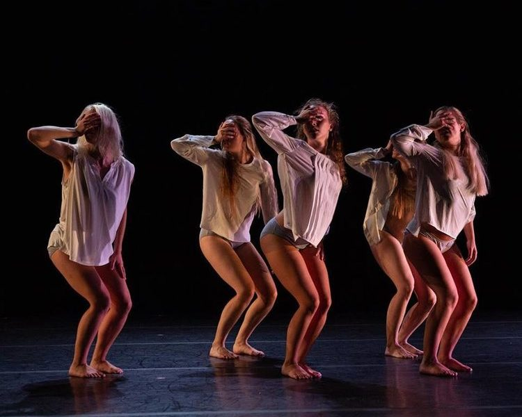 "Dancers in Dan Higgins' ""Asylum"" as a part of Brine's Na. Photo by Paul Montano, lighting by William Peterson."